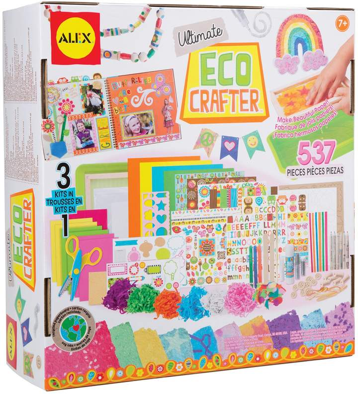 ALEX Toys Ultimate Eco Crafter - 3 kits in one. Everything you need to make beautiful handmade paper, preserve your memories in a scrapbook and create eco-friendly crafts. All materials are earth-friendly and made from recycled stickers.