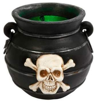 Add to your Halloween decor with the Electric Cauldron with Smoke. This eclectic cauldron decoration is artfully constructed and features a skull and cross bones face, comes with LED lighting, and emits smoke.