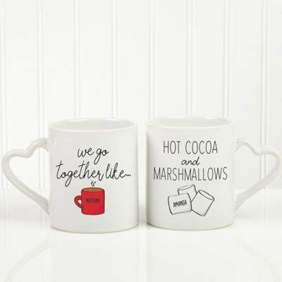 We Go Together Like Hot Cocoa Marshmallows Personalized Coffee Mug Set