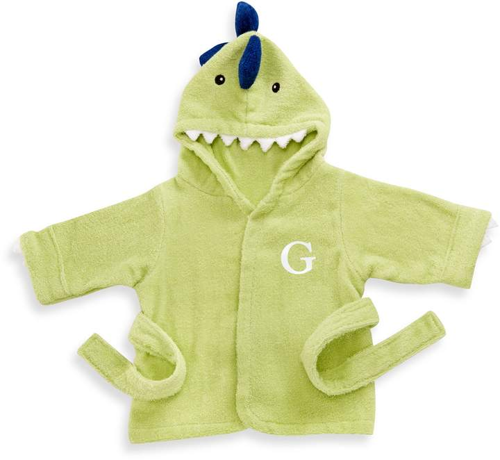 "Your baby will be prehistorically adorable, and snuggly-warm too, in this dinosaur hooded bathrobe. It has embroidered eyes, 3-D spikes, and teeth, and an attached belt closure. Baby Aspen ""Splashasaurus"" Hooded Spa Bathrobe comes in dino-green and features cute spikes and teeth Made of 100% cotton terrycloth"