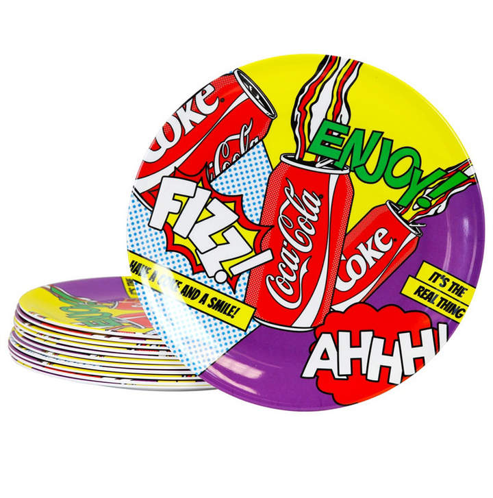 """Set of 12 plates in Gibson """"Coca Cola"""" designs. Have the appearance of paper plates but are made of sturdy and reusable melamine. Dishwasher safe-not microwave safe. Fun to use for special occasions or every day. Great for garden parties, picnics and kids."""