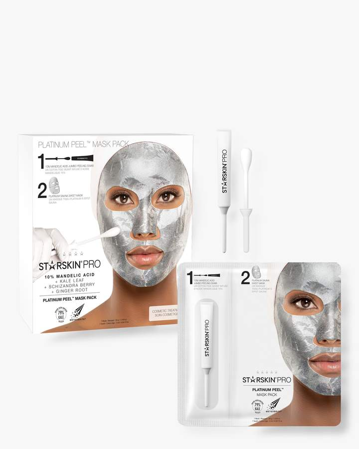 STARSKIN PRO Platinum Peel Mask Pack is a two-step professional peeling treatment. The treatment starts with a 10% Mandelic Acid exfoliating swab, followed by a powerful foil sheet face mask saturated in a nutrient-rich kale-based serum. The foil-backed mask creates a sauna effect, gently warming the skin and preventing evaporation of the actives. This maximizes the peeling process while simultaneously boosting the absorption of the sheet mask's brightening serum infused with Meteobrite. Experience an easy, professional and safe peeling treatment that leaves skin smoother, brighter and balanced in just 10 min. Leaves skin looking brighter and feeling smoother Balances the skin tone Cleanse face and pat dry. Break open the tube at the dotted line. Gently sweep the swab across your face and neck, avoiding the eye area. Do not rinse off. Carefully unfold and apply bottom half first, then top half. Leave on for 10 min. Remove and discard. Gently massage in remaining serum and leave on overnight for best results.