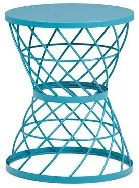 Add eye-catching appeal to your home with this Metal Accent Table. The turquoise painted finish showcases an openwork hourglass-shaped metal base. This great piece of furniture is sure to brighten any room