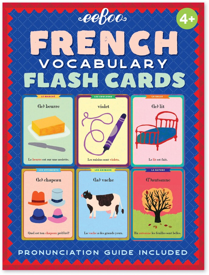 French vocabulary words are stylishly illustrated on charming cards with English sentences on one side and French on the reverse.