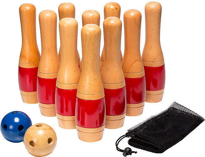 A refined version of a favorite family past time, this 10-piece bowling set is hand-carved of New Zealand pine with hand-painted detailing in glossy red