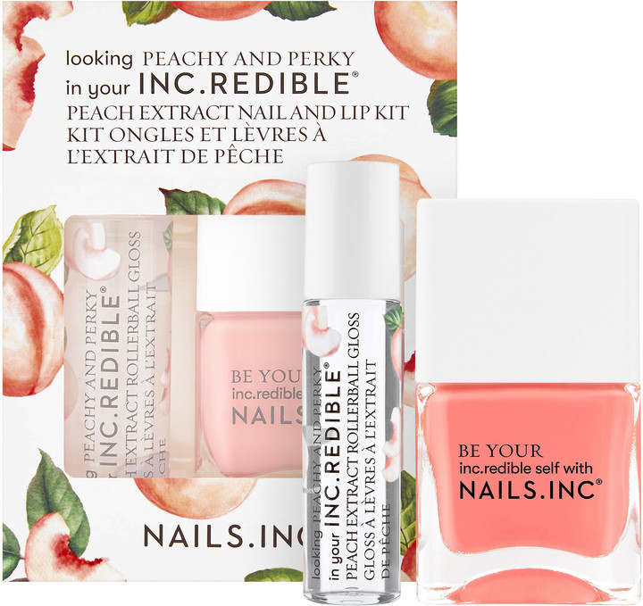 Turn up the sweetness and meet NAILS INC.'s juiciest duo yet: a peach-infused nail polish and rollerball lip gloss. Real Peaches is a smooth, creamy peach polish that's formulated in the revolutionary Nailpure '11 Free' formula. The rollerball is a classic, clear gloss enriched and scented with sweet peach and jam-packed full of super hydrating actives for nourished, plump-looking lips. Your lips and nails will love you.