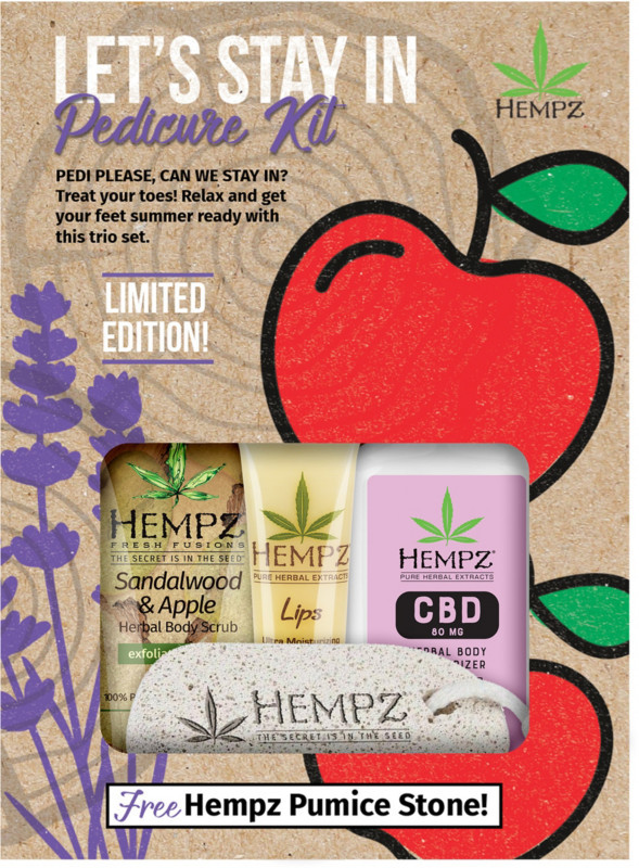 Pedi Please, Can We Stay In? Treat your toes! Relax and keep your summer ready year-round with the Hempz Let's Stay In Pedicure Kit.