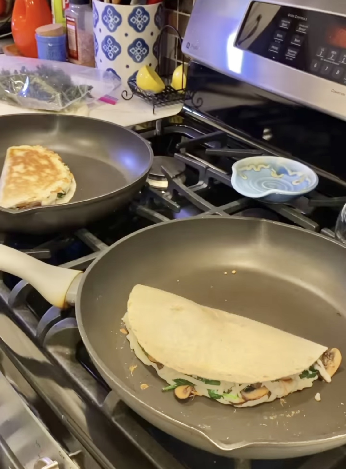 Spinach and Mushroom Quesadillas –Four points each on Weight Watchers Green