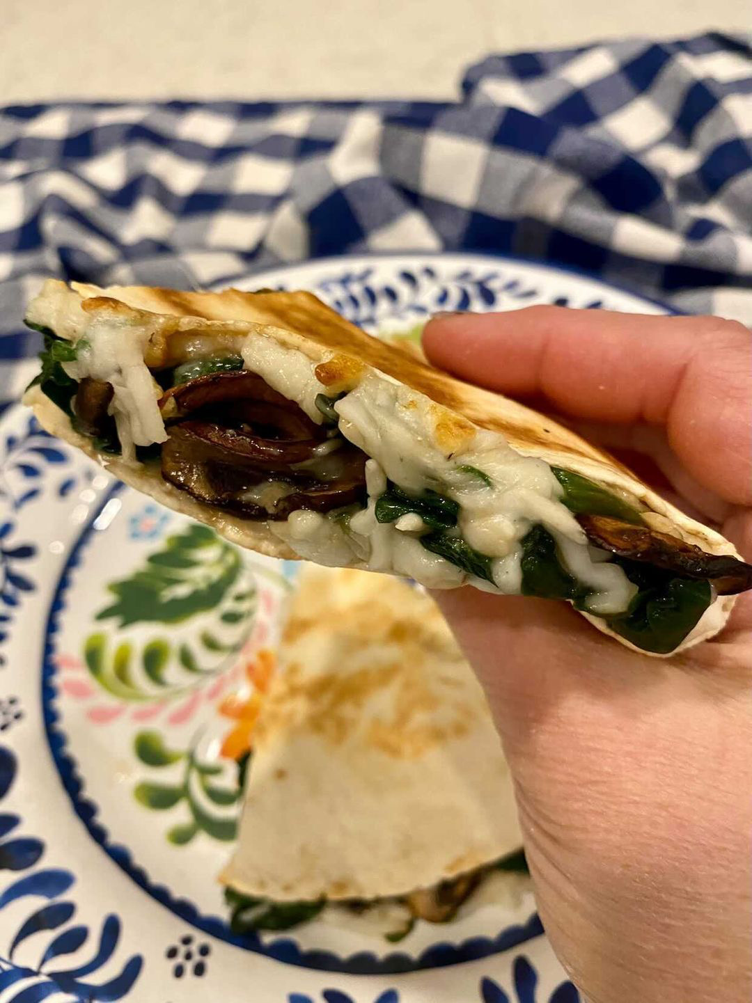Spinach and Mushroom Quesadillas --Four points each on Weight Watchers Green