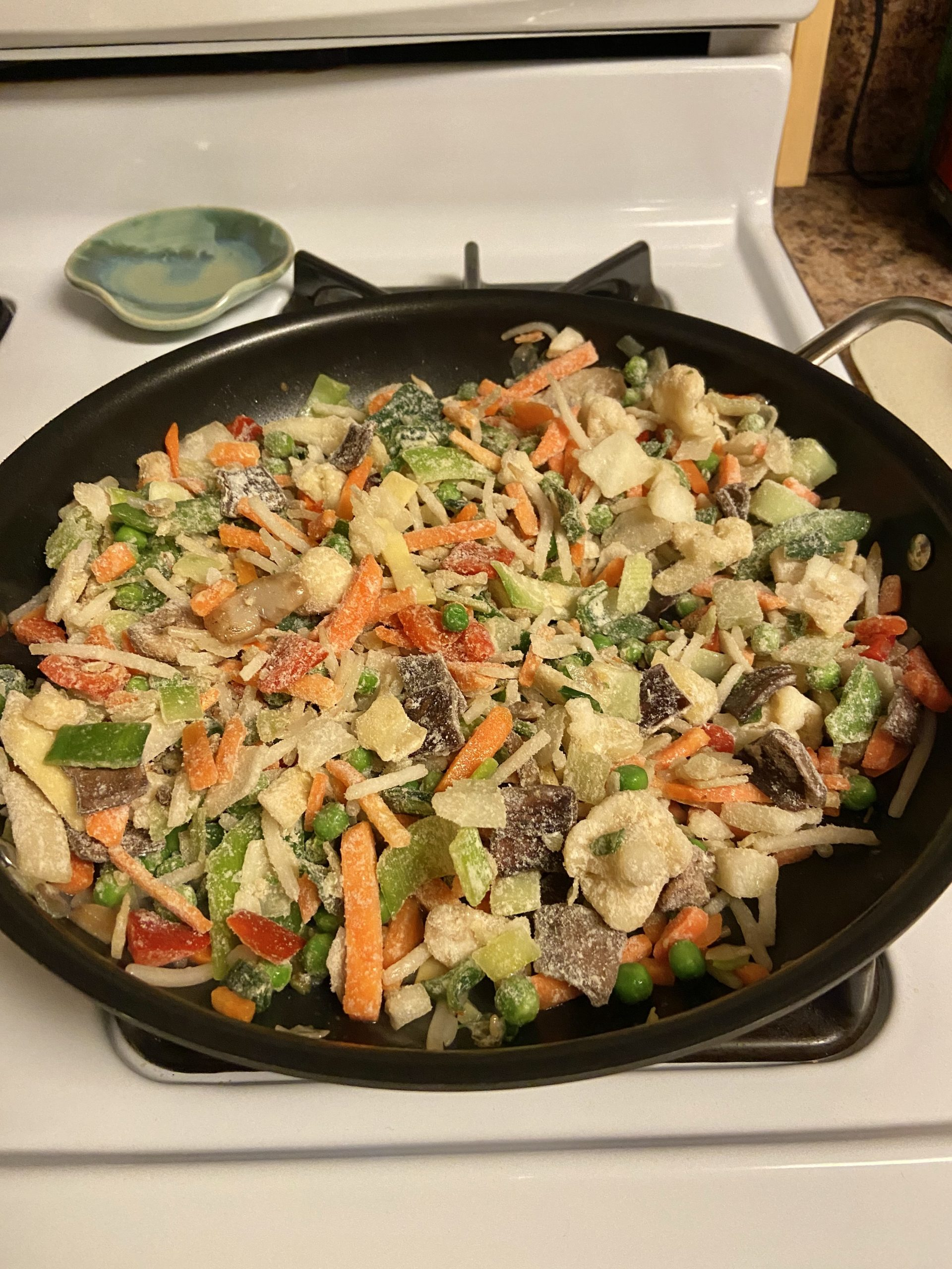 Asian Inspired Crispy Air Fried Tofu with stir fry vegetables