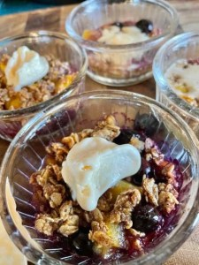Blueberry Peach Crisp with Ice Cream Two points per serving on All Weight Watchers Plans