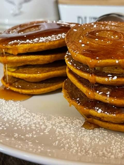 Pumpkin lovers pancakes - Zero points per pancake on Weight Watchers Blue and purple!