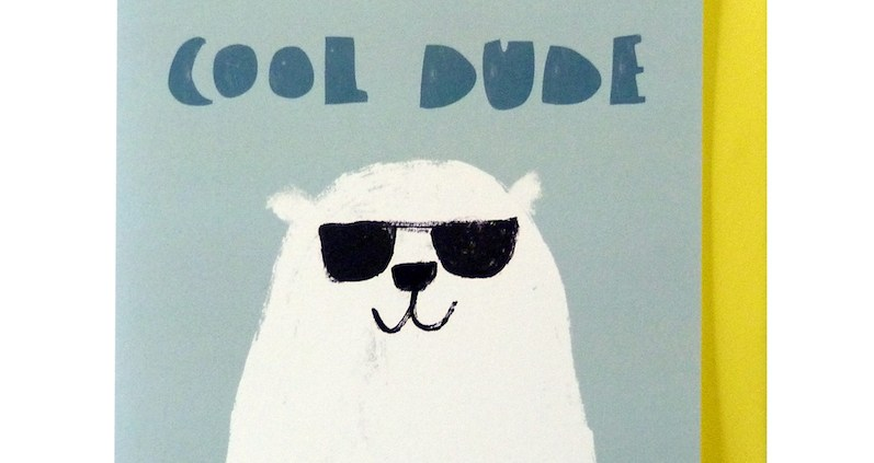 Funky Cool Dude Polar Bear on blue background Card with yellow envelope