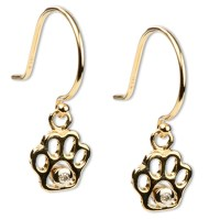 14K Gold & Diamond Paw Print Dangle Earrings