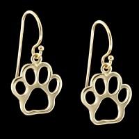 14K Gold Paw Print Dangle Earrings