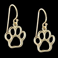 14K Gold Paw Print Dangle Earrings | 14KY Gold Dangle ...