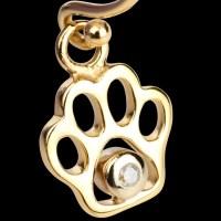 14K Gold & Diamond Paw Print Dangle Earrings | 14KY Gold ...