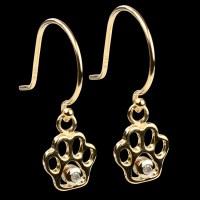 14K Gold & Diamond Paw Print Dangle Earrings