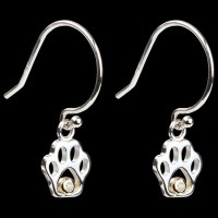 Fine Sterling Silver & Diamond Paw Print Dangle Earrings