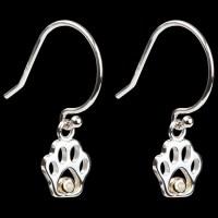 Fine Sterling Silver & Diamond Paw Print Dangle Earrings ...
