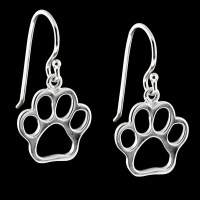 Large Sterling Silver Paw Print Dangle Earrings