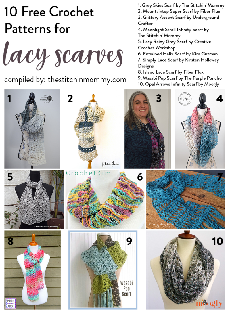 10 Free Crochet Patterns for Lacy Scarves compiled by The Stitchin' Mommy | www.thestitchinmommy.com