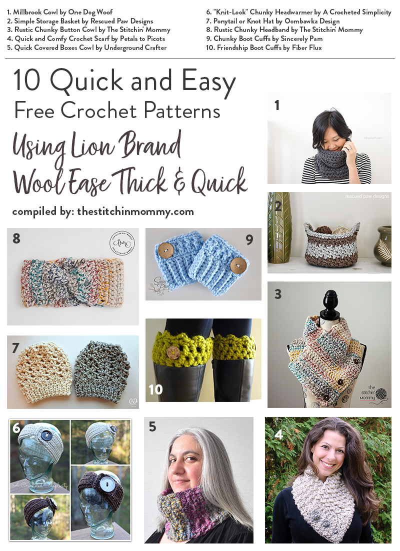 10 Quick and Easy Free Crochet Patterns Using Lion Brand Wool Ease ...