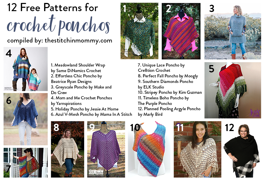 12 Free Patterns For Crochet Ponchos The Stitchin Mommy