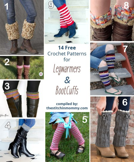14 Free Crochet Patterns for Legwarmers and Boot Cuffs compiled by The Stitchin' Mommy | www.thestitchinmommy.com