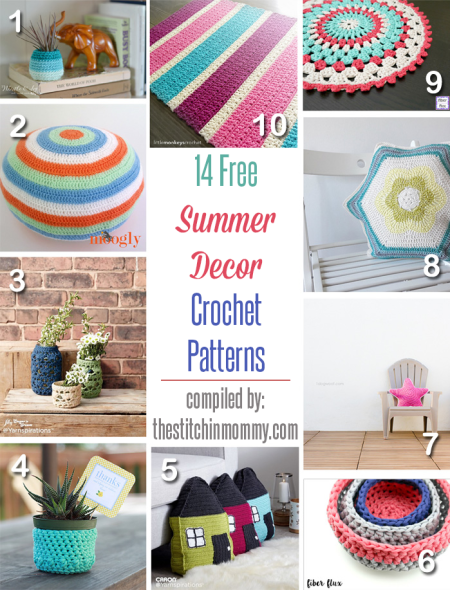 14 Free Summer Decor Crochet Patterns compiled by The Stitchin' Mommy | www.thestitchinmommy.com