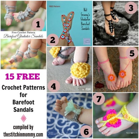 15 Free Crochet Patterns for Barefoot Sandals compiled by The Stitchin' Mommy | www.thestitchinmommy.com