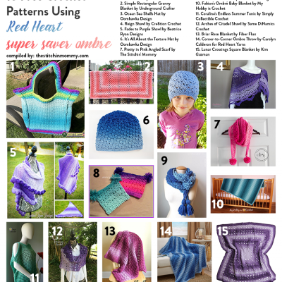 15 Free Crochet Patterns Using Red Heart Super Saver Ombre tsm