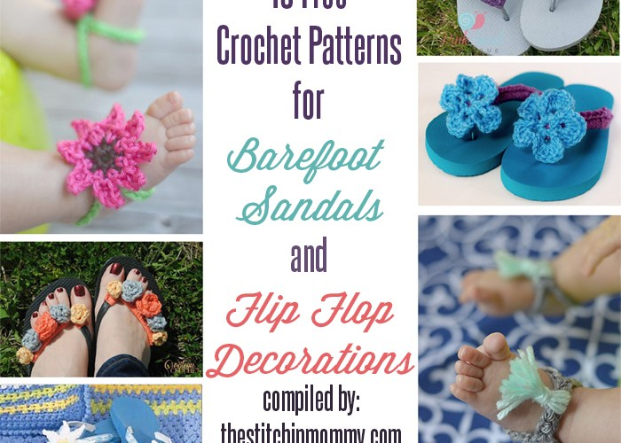 15 Free Crochet Patterns for Barefoot Sandals and Flip Flop Decorations