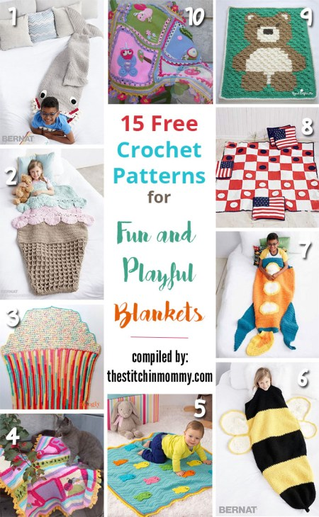 15 Free Crochet Patterns for Fun and Playful Blankets compiled by The Stitchin' Mommy | www.thestitchinmommy.com