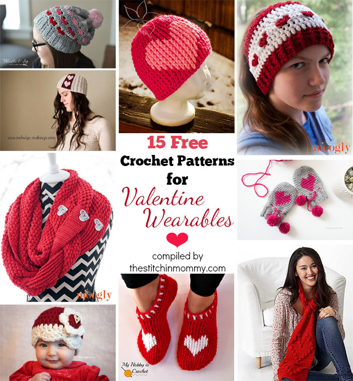 15 Free Crochet Patterns for Valentine Wearables compiled by The Stitchin' Mommy | www.thestitchinmommy.com