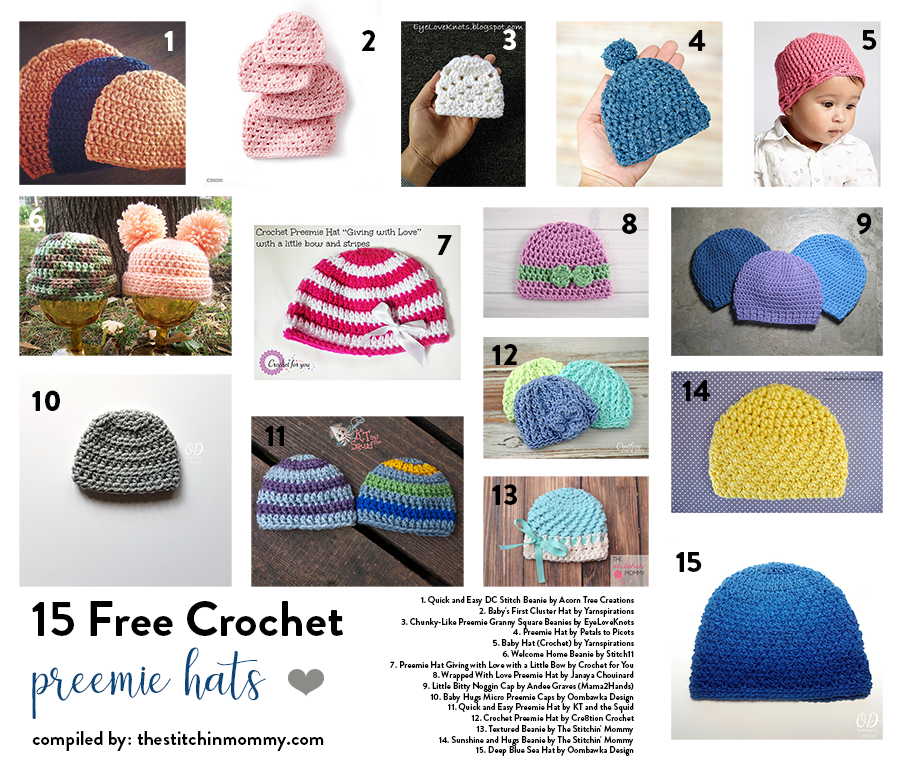 15 Free Crochet Preemie Hat Patterns compiled by The Stitchin  Mommy  afc183065f66