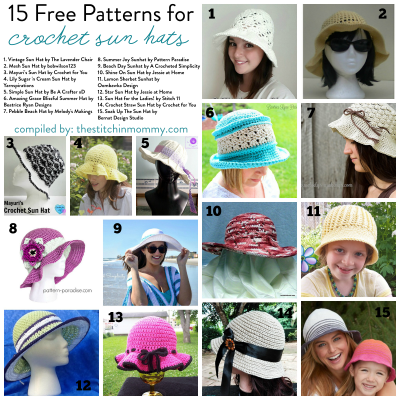 15 Free Patterns for Crochet Sun Hats