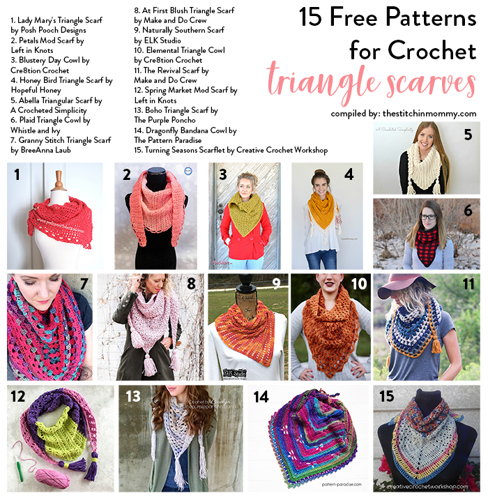 15 Free Patterns For Crochet Triangle Scarves The Stitchin Mommy