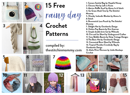 15 Free Rainy Day Crochet Patterns compiled by The Stitchin' Mommy | www.thestitchinmommy.com