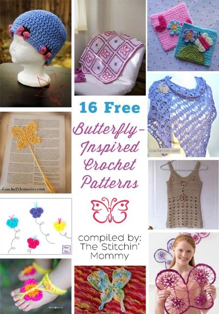 16 Free Butterfly Crochet Patterns
