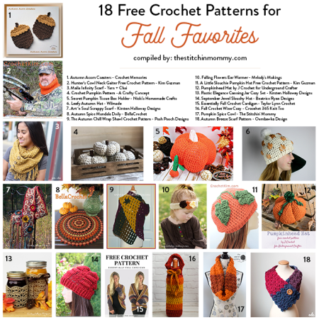 18 Free Crochet Patterns for Fall Favorites compiled by The Stitchin' Mommy | www.thestitchinmommy.com
