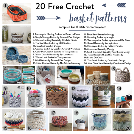 20 Free Crochet Basket Patterns to Help You Get Organized compiled by The Stitchin' Mommy | www.thestitchinmommy.com