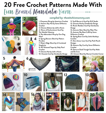 20 Free Crochet Patterns Made With Lion Brand Mandala Yarn compiled by The Stitchin' Mommy | www.thestitchinmommy.com