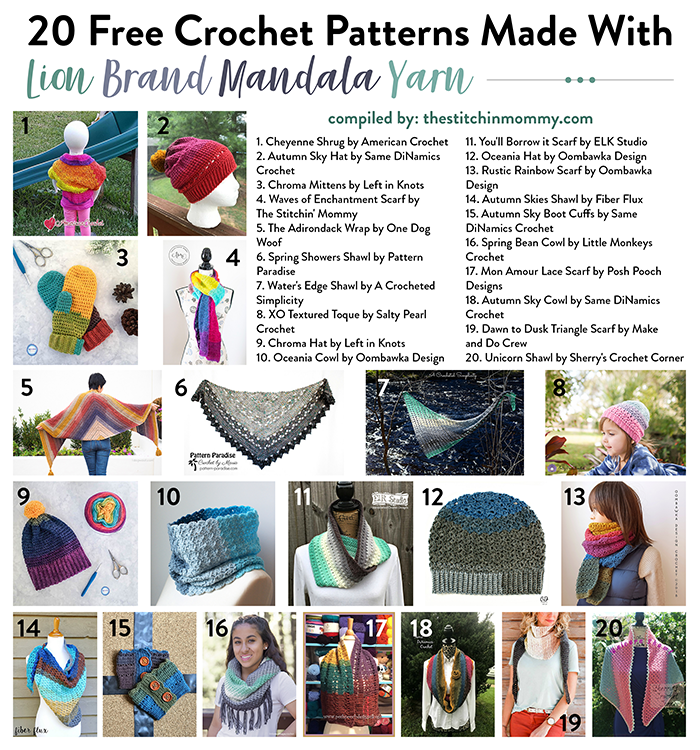 40 Free Crochet Patterns Made With Lion Brand Mandala Yarn The Inspiration Mandala Yarn Patterns