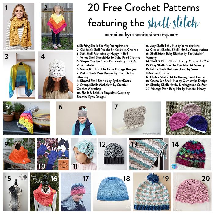 20 Free Shell Stitch Crochet Patterns - The Stitchin Mommy