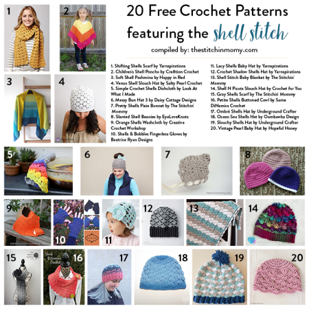 20 Free Shell Stitch Crochet Patterns compiled by The Stitchin' Mommy | www.thestitchinmommy.com