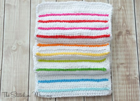 Crochet Striped Dishcloths - www.thestitchinmommy.com