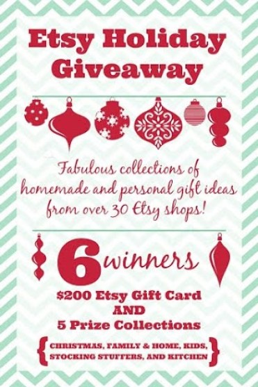 Etsy Holiday Giveaway with 6 winners - $200 Etsy   gift card and 5 prize packages up for grabs! PLUS, an awesome Etsy Holiday Gift  Guide to browse!