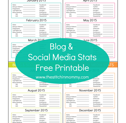 Blog and Social Media Stats – Free Printable