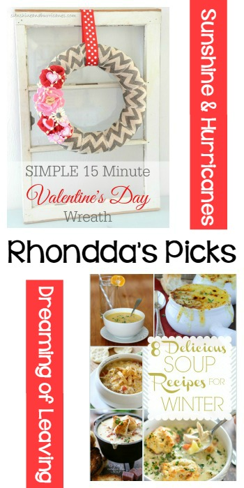 Rhondda's Picks | Simple Valentine's Day Wreath/8 Delicious Soup Recipes | Tuesday PIN-spiration Link Party